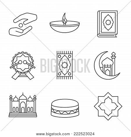 Islamic culture linear icons set. Zakat, oil lamp, quran book, daf, praying mat, mosque and crescent moon, islamic star. Thin line contour symbols. Isolated vector outline illustrations