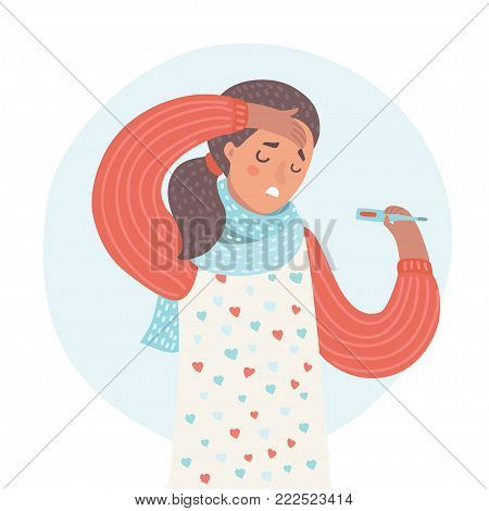 Vector cartoon illustration of cold and flu. Portrait of ill woman, Feeling sick and sneezing. Closeup of cute unhealthy girl wearing in scarf. Girl with headache take thermometer. Healthcare Concept.