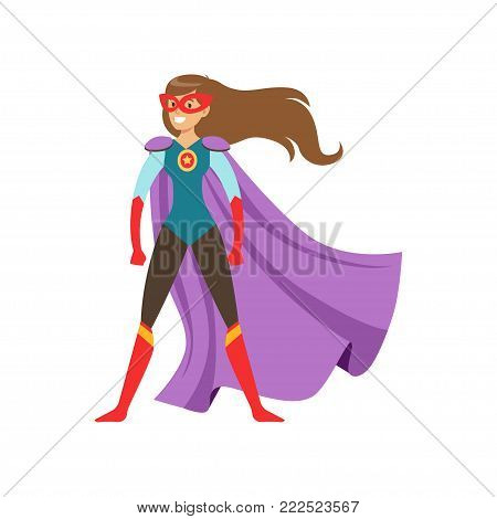 Young woman character dressed as a super hero standing in the traditional heroic pose cartoon vector Illustration isolated on a white background