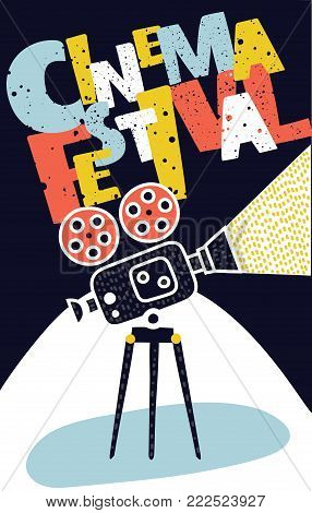 Vectro cartoon illustration of Movie and film modern retro vintage poster with videocamera and hand drawn lettering.