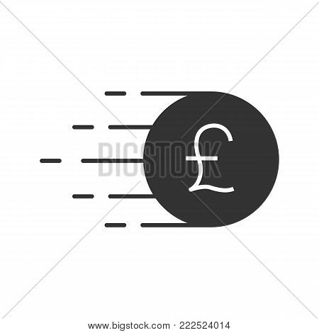 Flying british pound coin glyph icon. Silhouette symbol. Great Britain currency. Negative space. Vector isolated illustration