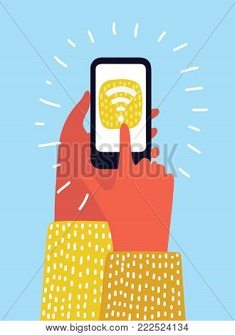 Vetor cartoon illustration of human hand hand holding smartphone with wifi connect on screen. Modern colorful concept.