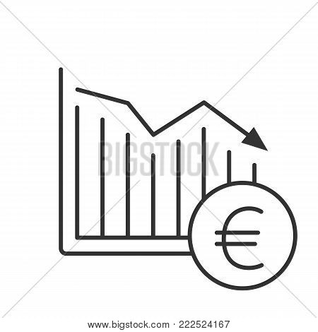 Euro falling linear icon. Statistics diagram with European currency sign. Thin line illustration. Financial collapse. Contour symbol. Vector isolated outline drawing