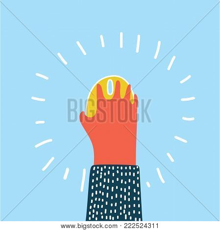 Vector colorful cartoon illustration of the human hand with computer mouse on blue background