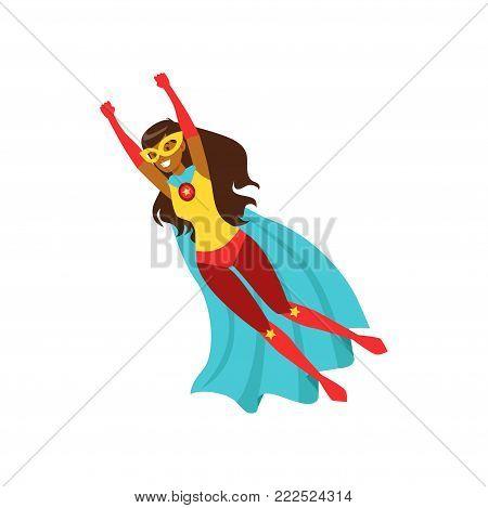 Afro american girl character dressed as a super hero flying cartoon vector Illustration isolated on a white background