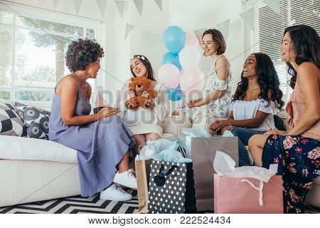 Woman Celebrating Baby Shower With Friends