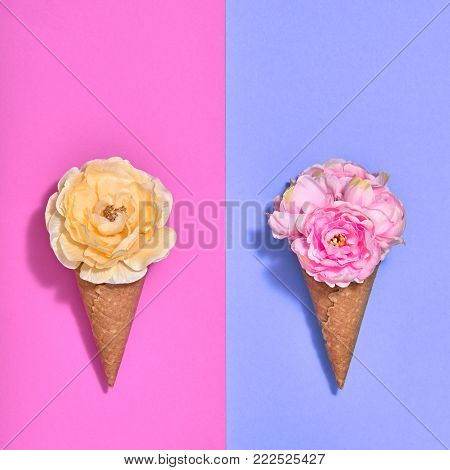Ice Cream Cone Set with Flowers. Creative Minimal. Trendy fashion Pink Purple Style. Spring Summer Floral concept. Colorful Neon Design. Pop Art