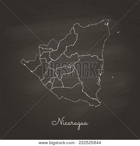 Nicaragua Region Map: Hand Drawn With White Chalk On School Blackboard Texture. Detailed Map Of Nica