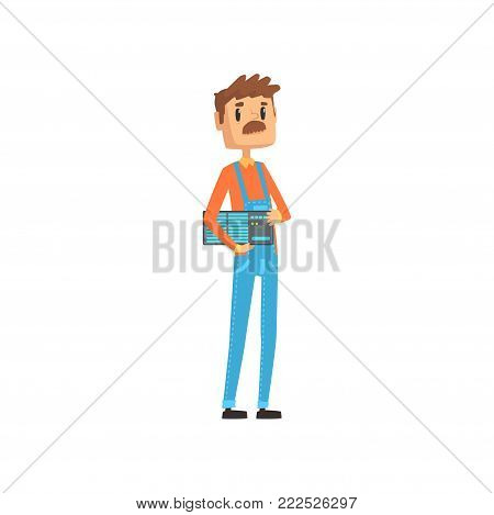 Computer technician or system administrator, engineer system IT administrator at work cartoon vector illustration isolated on a white background
