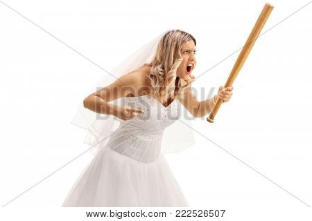 Angry bride with a baseball bat isolated on white background