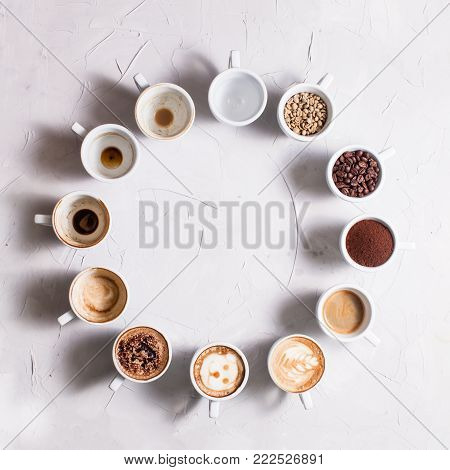 Twelve white cups of different stages of preparing cappuccino. Coffee lover concept clock