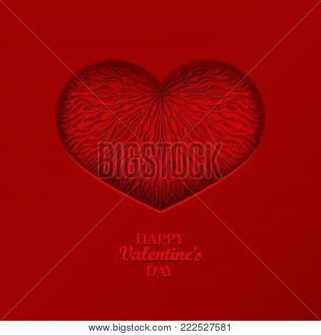 Valentine's Day Concept Background With Origami Red Heart Shaped Frame. 3D Paper Art Heart With Wave
