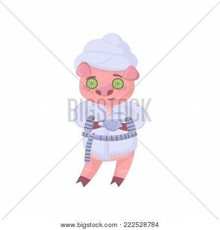 Cute pig character wearing bathrobe enjoying face treatment with cucumber mask, funny cartoon piggy animal vector Illustration on a white background