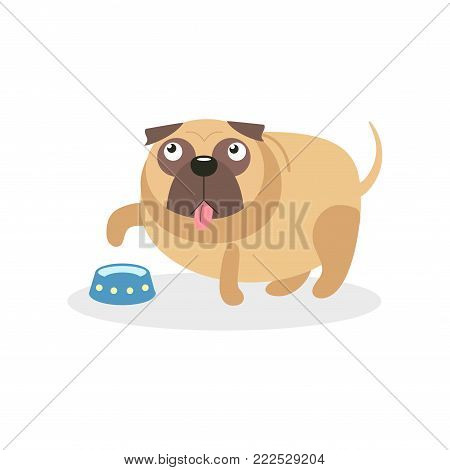 Cute pug dog character and empty bowl, pet dog asking for food cartoon vector Illustration on a white background