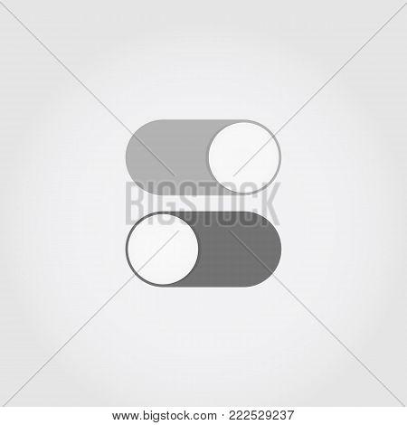 Gray flat switch toggle icons set illustration