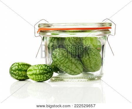 Melothria scabra, Mexican sour gherkin isolated on white background