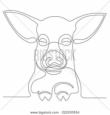 Continuous line drawing of a face pig. vector illustration.
