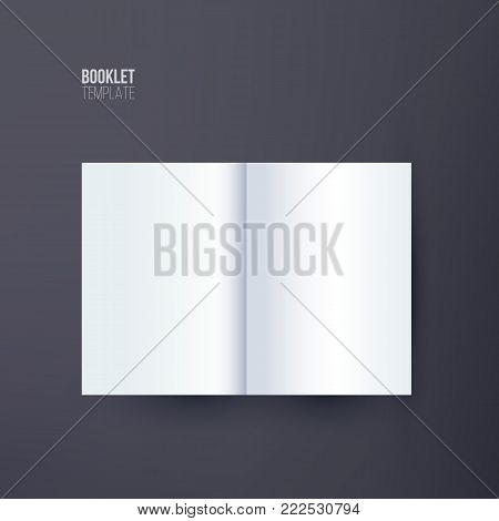 Vertical booklet template. Vector booklet spread mock up isolated on dark background