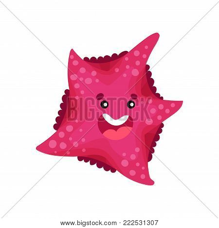 Cute smiling cartoon starfish character, invertebrate sea animal cartoon vector Illustration on a white background