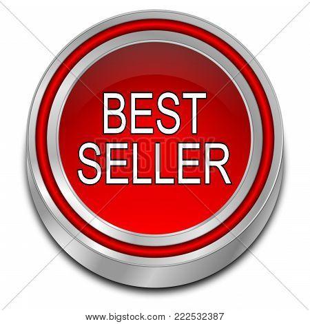decorative red Bestseller button - 3D illustration