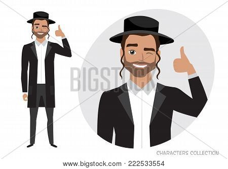 Positive jew guy smiling and recommended. Happy man in casual cloth. Laughing man showing thumbs up.