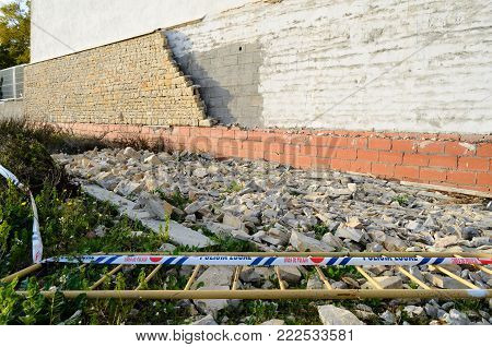 Collapsed block of wall in the institute