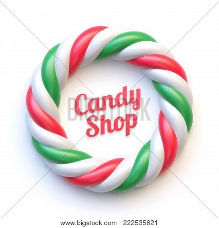 Candy cane circle frame on white background. Swirl hard candy round border with copy space