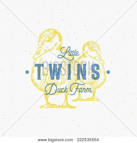 Little Twins Duck Farm Abstract Vector Sign, Symbol or Logo Template. Hand Drawn Ducks Sillhouettes with Retro Typography and Shabby Textures. Vintage Print Effect Emblem or a Stamp. Isolated.