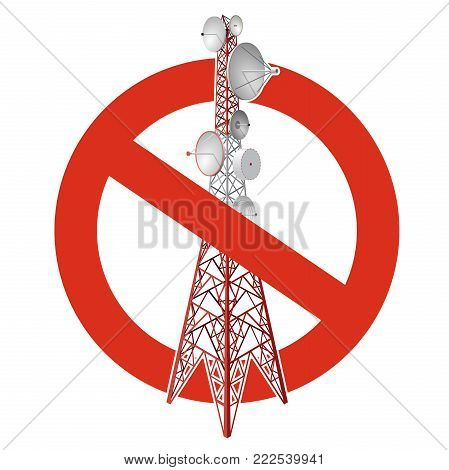 Prohibition of satellite tower. Strict ban on construction of transmission tower pylons. Stop telephone, television signals caution. Vector red-white communications tower, white background, isometric.