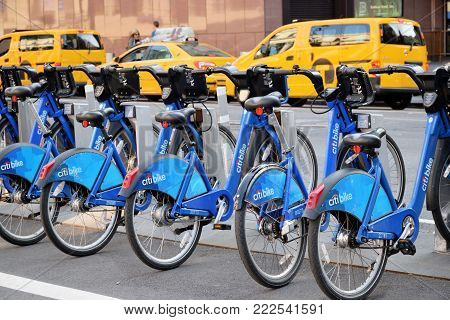 NEW YORK CITY, USA - AUG. 29: Citi Bike The Bicycle Rental on August 29, 2017 in New York City, NY. Citi Bike is a privately owned public bicycle sharing system.