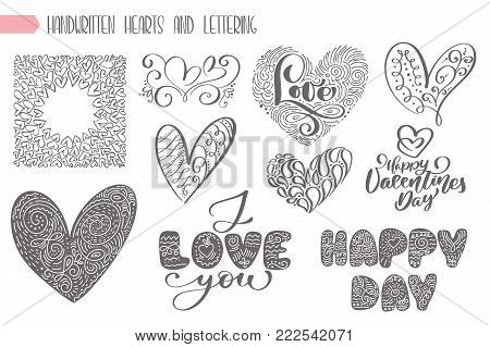 Big set valentines day hand written lettering heart love to design poster, greeting card, photo album, banner, vintage calligraphy vector illustration collection.