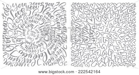 text flourish calligraphy vintage love and hearts. Illustration vector hand drawn, Hand written vector style happy valentines day sign.