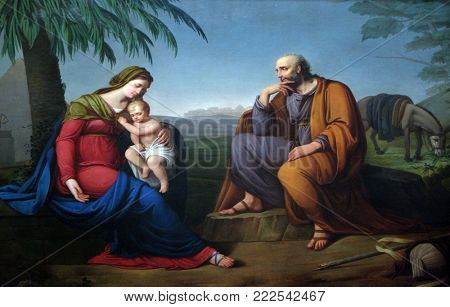 LUCCA, ITALY - JUNE 03: Holy Family, altarpiece in the Basilica of Saint Frediano, Lucca, Tuscany, Italy on June 03, 2017.