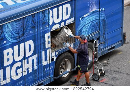 NEW YORK CITY, USA - AUG. 29: Bud Light beer delivery truck on August 29, 2017 in New York City, NY. Bud Light is a leading provider of American beer.