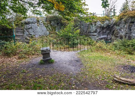 Ruins of old Prussian Charles's Fort near Karlow village in Table Mountains, Sudetes in Poland