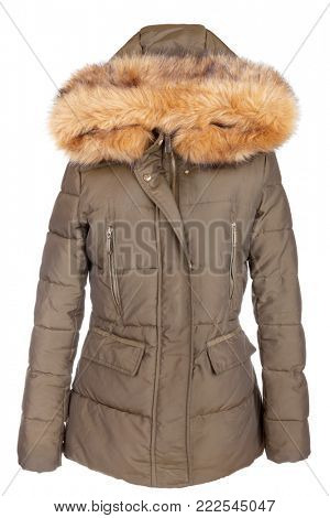 Elegant designer fur lined ladies winter jacket, isolated on white