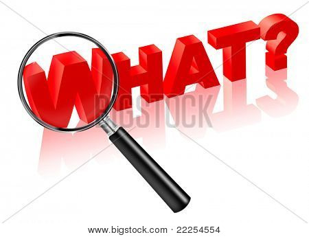 what source cause reason consequence button 3D  button or icon. Search answer on question. Red text with magnifying glass.