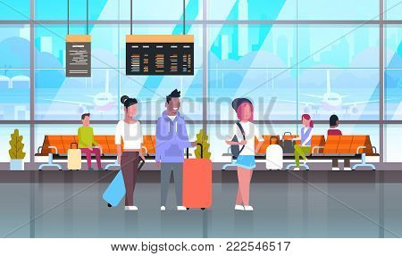 Passangers In Airport With Baggage At Waiting Hall Or Departure Lounge Flat Vector Illustration
