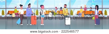 People In Airport Travelers With Baggage At Waiting Hall Or Departure Lounge Terminal Horizontal Banner Flat Vector Illustration
