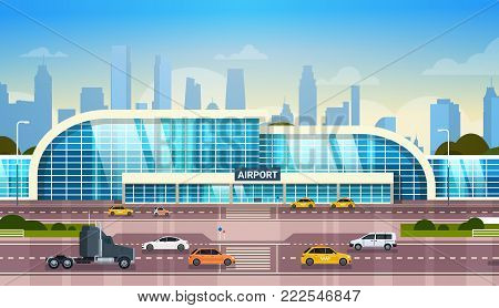 Airport Building Modern Terminal Exterior With Cars On High Way Road And Skyscrapers On Background Flat Vector Illustration
