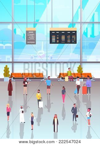 Airport Interior With Passangers Crowd Walking To Waiting Hall And Departure Lounge, Terminal People Holding Suitcases Flat Vector Illustration