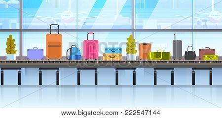 Different Suitcases On Baggage Conveyor Belt In Airport Flat Vector Illustration