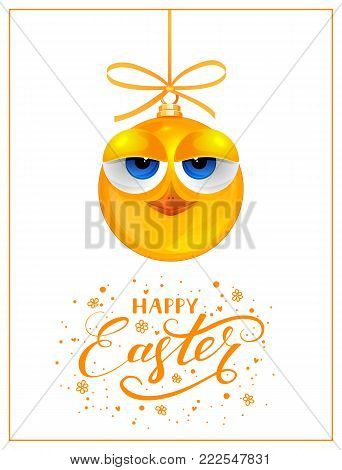Funny yellow chick with bow isolated on white background. Holiday lettering Happy Easter, illustration.