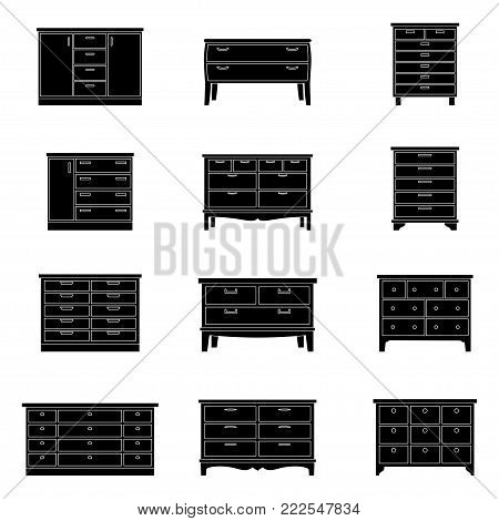 Set of chests of drawers, vector illustration
