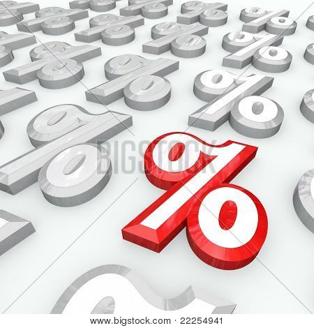 Many percent signs and one standing out as the best interest rate, growth increase or return on investments, or the lowest decrease in an undesirable figure
