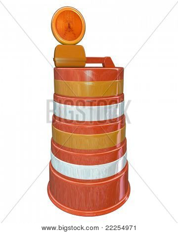 An orange construction barrel for a road work project warning drivers and pedestrians that street or highway improvement and rebuilding is happening