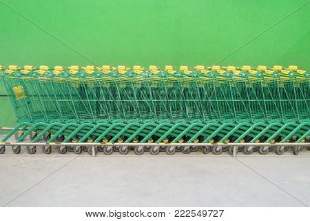 Shopping carts trolleys on a parking lot