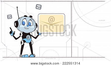 Chatbot Robot Hold New Message Notification Sign Support Technology Chatter Virtual Assistance Concept Vector Illustration