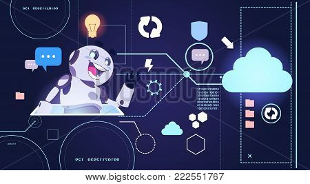 Chatbot Robot Technology, Chatterbot Using Digital Tablet Virtual Assistance And Web Support Concept Flat Vector Illustration