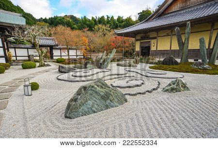 Rock Garden Of Ancient Japanese Temple